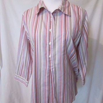 Talbots Blouse Women's Size M Striped Multi Color Pullover 3/4 Sleeves
