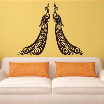 Wall decal art decor decals sticker peacock couple bird beauty tail feather bedroom design mural (m931)