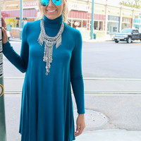 Dusk To Dawn Teal Turtleneck Long Sleeve Swing Dress