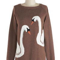 Swan of a Kind Sweater | Mod Retro Vintage Sweaters | ModCloth.com