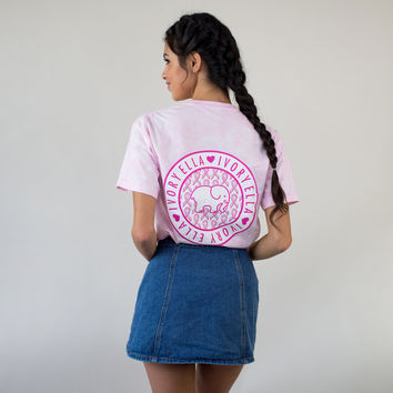 Classic Fit Acid Wash Ribbon Tee