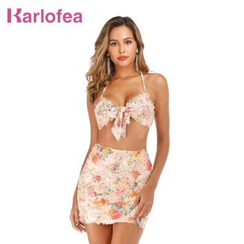 Karlofea Two Piece Floral Mesh Sequin Dress Women Summer Vacation Outfits Sexy Halter Backless Bodycon Mini Dress Chic Clubwear