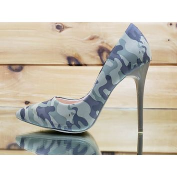 "Fabio Camo Green 4.5"" High Heel Shoes Pointy Toe Pump 7-11"