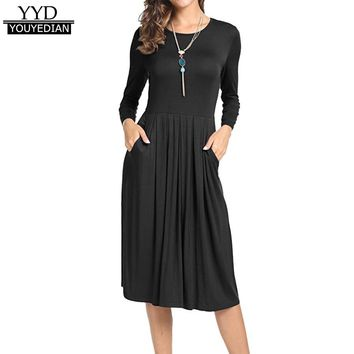 Vestidos Mujer 2017 Womens Casual Solid Pleated Long Sleeve Loose Swing Side Seam Pocket Knee-Length Dress Women Autumn #1109