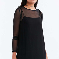 Silence + Noise Straight-Neck Mini Slip Dress - Urban Outfitters