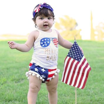 Merica Babe Sunglasses Outfit Pom Stars Tank Top And Shorts