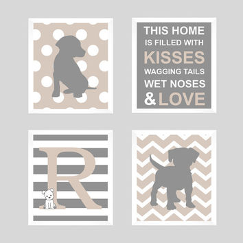 Puppy Nursery, Puppy Wall Decor, Puppy Print, Monogram Print, Initial Monogram, Dog Print, Baby Decor, Kids Wall Art, CUSTOMIZE YOUR COLORS