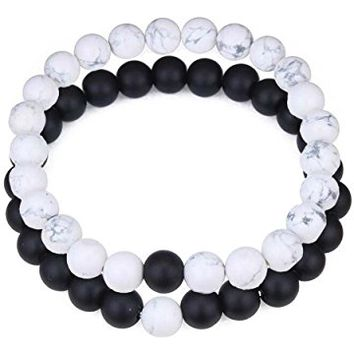 Long Distance Relationship Bracelets His and Hers Black Matte Agate & White Howlite 8mm Beads Couple Friendship Bracelet