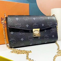 MCM Fashion New More Letter Leather Chain Crossbody Bag Shoulder Bag Women Black