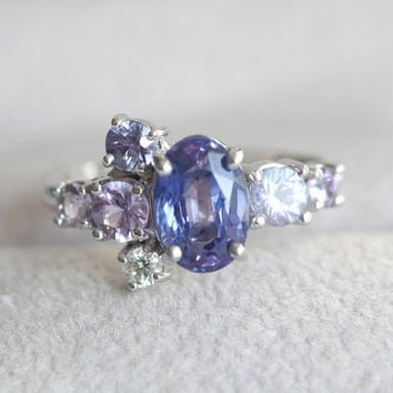 Blue Sapphire Engagement Ring, Blue Sapphire Ring, Purple Sapphire Ring, Cluster Sapphire Ring, Cluster Engagement Ring, Statement Wedding