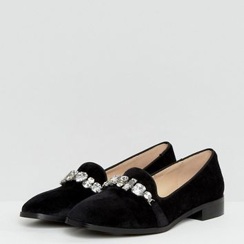 London Rebel Jewelled Chain Slipper Shoe at asos.com