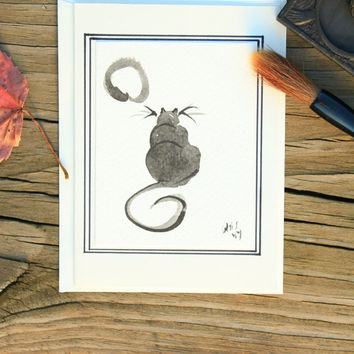 sumi e painting blank card:Kitty and the moon/Watercolor painting/Japanese painting/Sumi e greeting card/Black ink painting