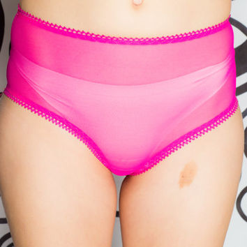 SALE - Sweet Tooth Sheer High Waisted Panties - Fuchsia