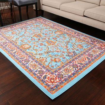 0843 Light Blue Colorful Oriental Area Rugs