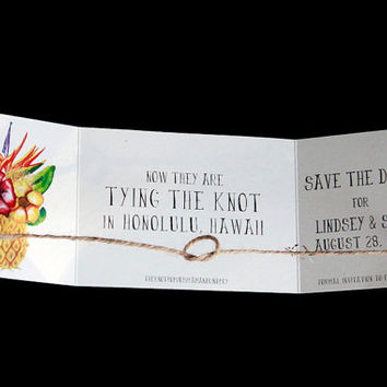 Destination wedding announcement, tying the knot save the date, Beach save the date, Tropical save the date, Knot announcement set of 25