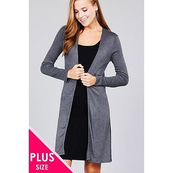Ladies plus size long sleeve open front side slit tunic rayon spandex rib cardigan (a)