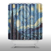 Tardis Doctor Who On Starry Night Shower Curtain Handmade Home & Living Bathroom,70-Inch by 70-Inch