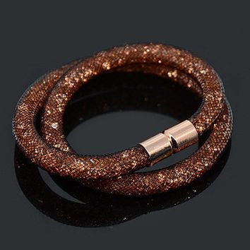 Chanfar Handmade Small Resin Crystal Filled Tube Mesh Double Magnetic Clasp Bracelet Jewelry For Woman