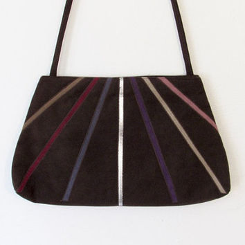 Vintage Reva Purse / Brown Ultra Suede w/ Multicolored Stripes / Shoulder Bag