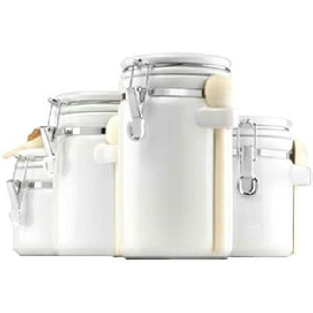 4pc White Ceramic Canister Set