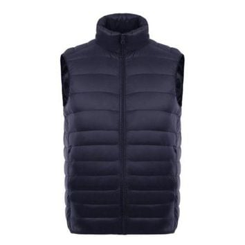 Man Thin Light Waistcoat Vest Down Coat Plus Size   navy