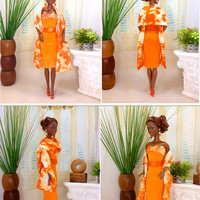 Barbie Doll Dress - Orange Dress with Tangerine and Cream Tie-Dye Bodice and Shawl with Belt, Earrings, and Shoes
