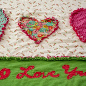 "Baby Girl  Rag Quilt ""I Love You"" so soft and cuddly flannel rag quilt modern rag baby quilt hearts butterflies love"