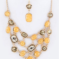 Topaz and Smoky Crystal Pebbles Necklace Set