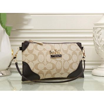 COACH Stylish Ladies Logo Print Leather Handbag Tote Shoulder Bag(5-Color) I-KSPJ-BBDL
