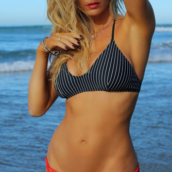 North Shore T-Back Bikini Top - Pinstripe
