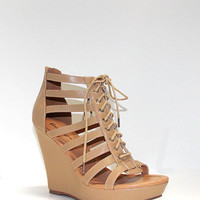 Caged Wedge - Beige
