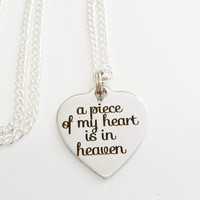 Angel in Heaven Jewelry | Remembrance Necklace | A Piece of My Heart is in Heaven | Infant Loss Jewelry | In Memory Of Jewelry