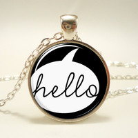 Hello Necklace, Black Jewelry, Cute Pendant (1572S1IN)