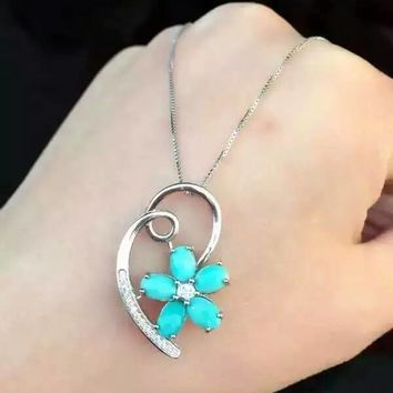 Turquoise pendant, Natural gemstone, Sterling Silver, Pendant, Necklace