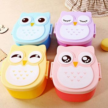 Best Selling Cute Variety Solid Color Cartoon Owl Lunch Box Food Container Storage Bento Microwave for Kids D4J1