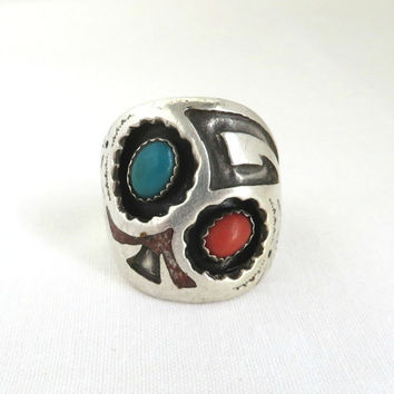 Navajo Men's Ring, Signed SC Vintage Sterling Silver Ring, Turquoise & Coral Native American Ring, Size 11