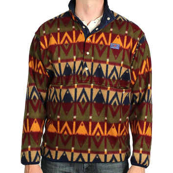 Tailgater Fleece Pullover in Sioux Red and Brown by Blankenship Dry Goods