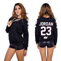 """Jordan 23"" Printed Sweater Jacket in Black or Red"