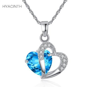 HYACINTH Elegant Shining Crystal Hollow Heart Pendant Necklace Fashion Blue Stone Heart Necklace Jewelry Wedding Party Accessory