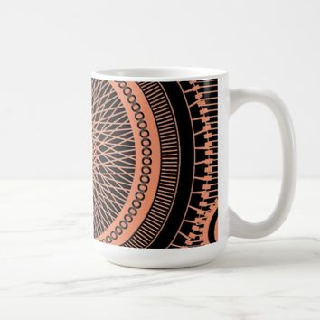 Cool heart shape mandala art in black and white co coffee mug