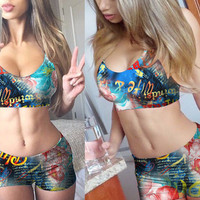 Blue Floral Graphic Print Bralet and Mini Shorts