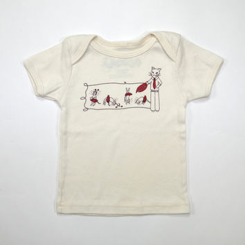 Evil Cat Claw & Pretty Kitty Organic Baby Tee in Natural