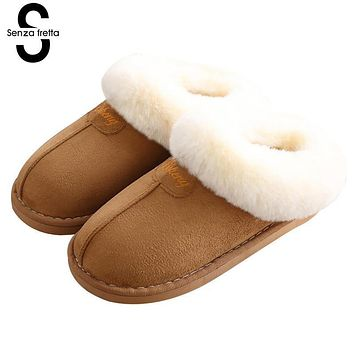 Senza Fretta Winter Warm Couple Slipper Men Bag Heel Fluffy Cotton Slippers Indoor Soft Thick Bottom Slippers Men Shoes Big Size