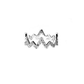 Pave Heartbeat Ring in Silver