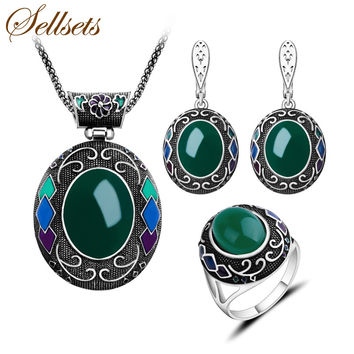 Sellsets New Fashion Turkish Jewelry Big Oval Pendant Necklace Set Enamel And Green Resin Vintage Silver Color Jewellery Sets