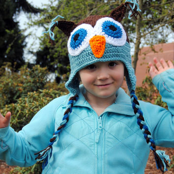 Crochet Owl Hat, Kids Crochet Hat, Infant Owl Photo Prop, Newborn Hat, Baby Boys Hat, Baby Girls Hat, Woodland Animal Hat, Toddler Boys