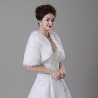 Free Shipping Half Sleeve Women Winter wedding faux fur jacket bolero wraps Bridal Coat Wedding Bolero Faux Fur Bridal Shurg