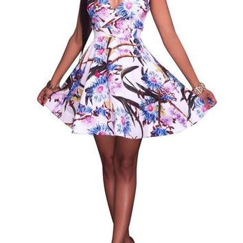 White Flowers Print Backless Deep V-neck A-line High Waisted Graduation Cute Mini Dress
