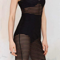 Black Stripe Mesh See Through Sleeveless Dress