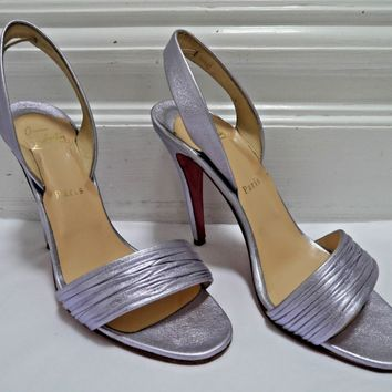 CHRISTIAN LOUBOUTIN $695 Marie Pli lilac leather heels sandals sz 40 WORN ONCE